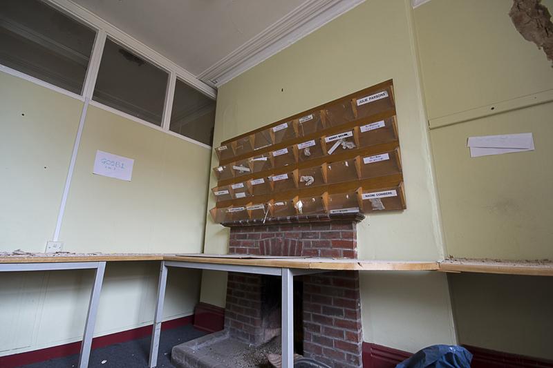 Staff room pigeon holes.