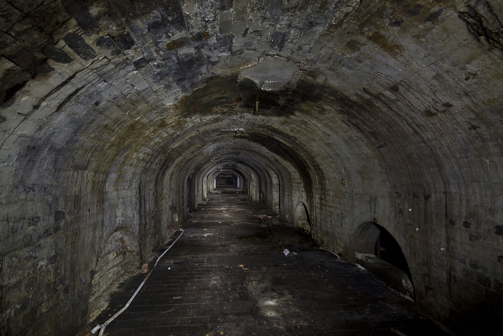 An uncharacteristically dry tunnel, most were damp and covered in sticky black oil.
