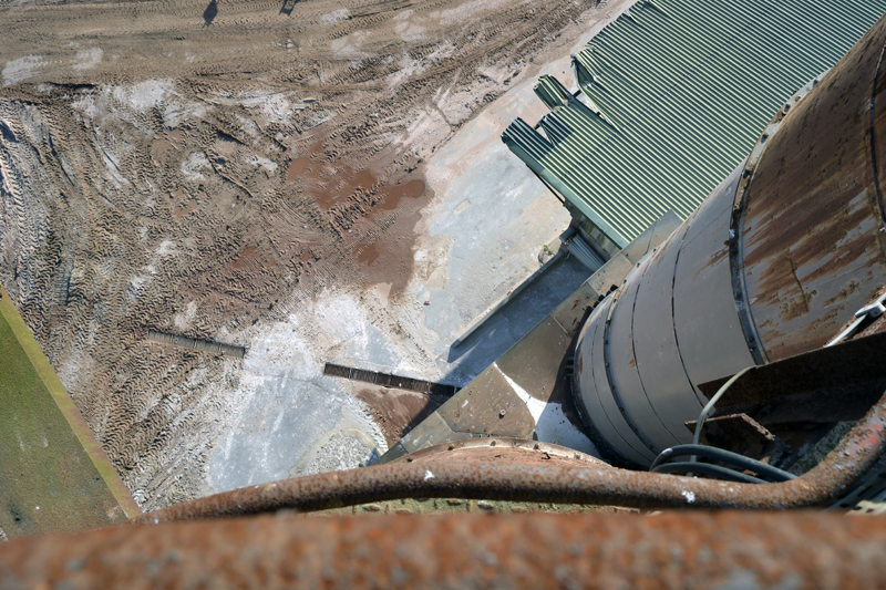 Looking down from the top of one of the silos