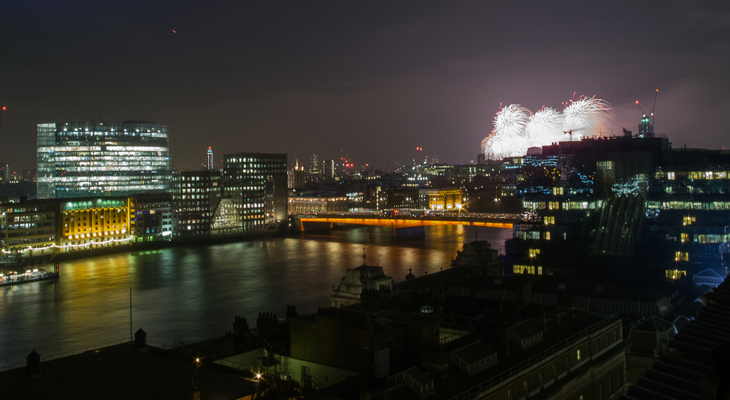 Looking towards the south bank at the fireworks display.