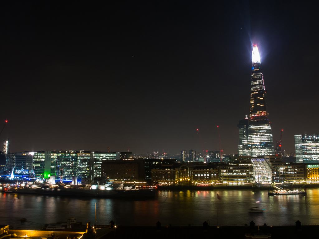The Shard standing prominently across the river.