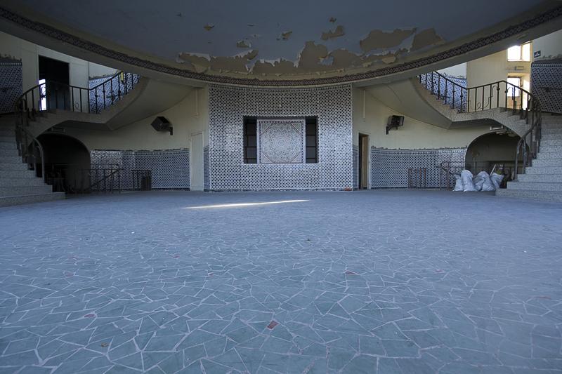 Inside the highly decoratively tiled atrium.