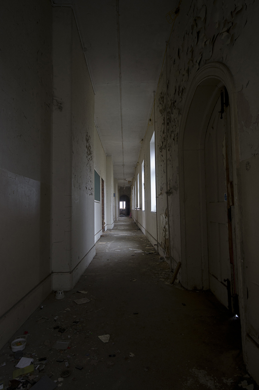 A corridor within the main building.