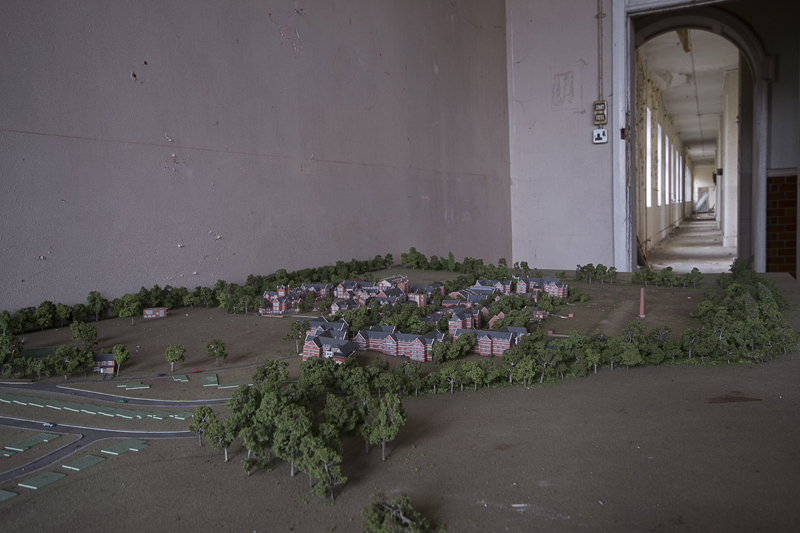 One room contained a scale model of the entire site.