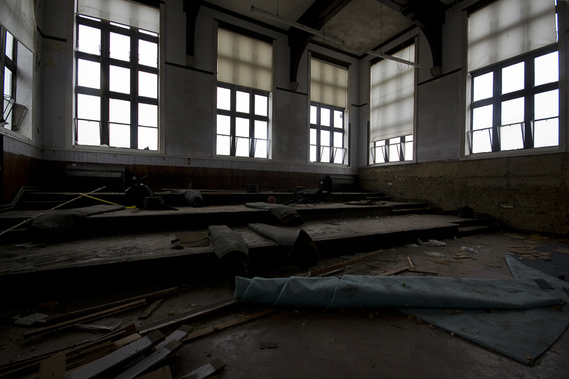 A classroom with a raked floor.
