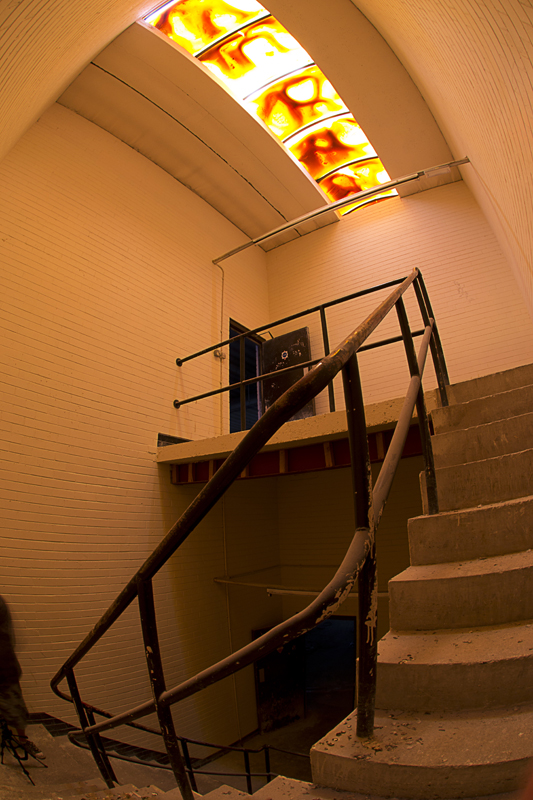 Stairwell with discoloured sky light.