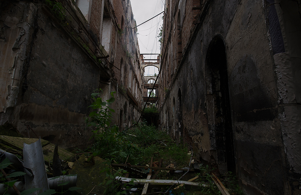 Burnt Out Corridor, Showing a Cross Section Through the Building