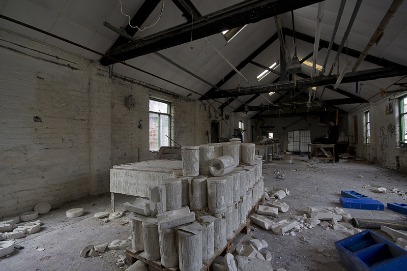 Upstairs in the slip casting room.