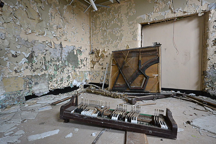 The remains of a piano.