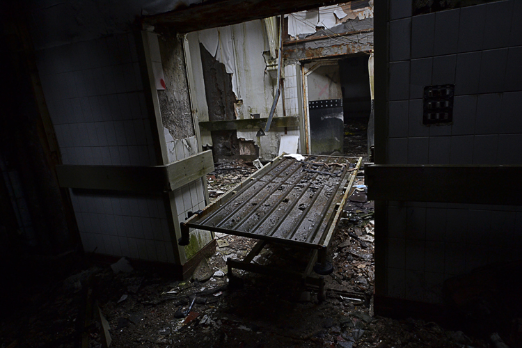 A trolley in an unusual location, this would frequently get moved around the hospital and turn up in different parts on each visit.
