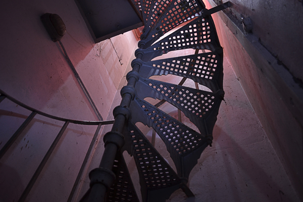 Spiral stair case to one of the boiler rooms.